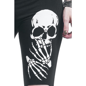 Skull Printed Hollow Hole Women Leggings