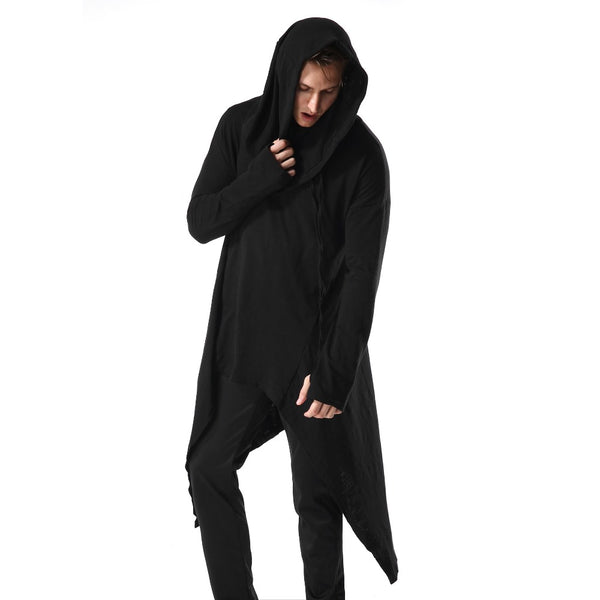 Avant Garde Gothic Asymmetrical Loose Fit  Hooded Long Pullover