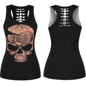 Skull Hollow Out Women Tank Top