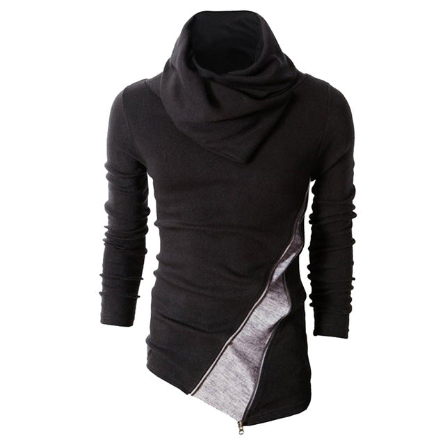 Asymmetrical Diagonal Zipper Black Men Sweatshirt