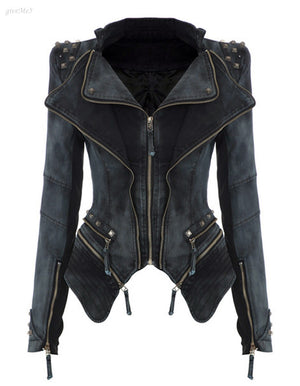 Punk Spike Cropped Vintage Women Jacket