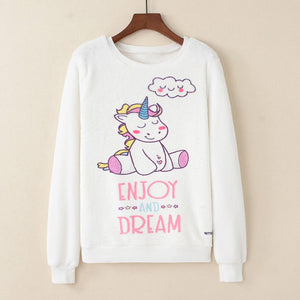"""Enjoy and Dream"" Unicorn White Sweatshirt"