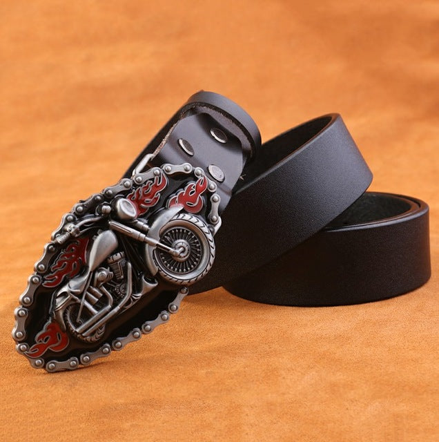 Motorcycle Buckle Genuine Leather Men Belt