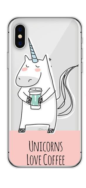 """Unicorn Love Coffee"" Phone Case Transparent Back Cover For iPhone"