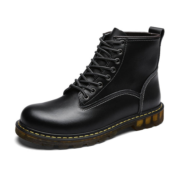 Grunge Gray Waterproof Genuine Leather Men Boots