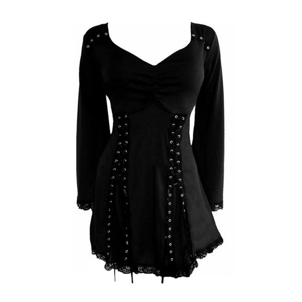 V-collar Blouse Butterfly Ruffles Lace-up Women's Tops