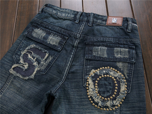 Biker Washed  Vintage Men Jeans