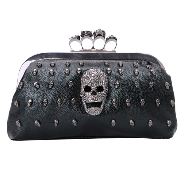 Gothic Skull Rivet Black Shoulder Bag Purse