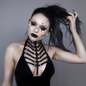 Gothic Punk Rock Adjustable Harness Women Bra