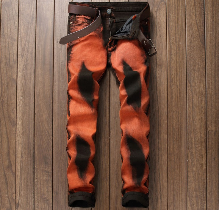 Punk Rave Rock Orange and Black Men Jeans