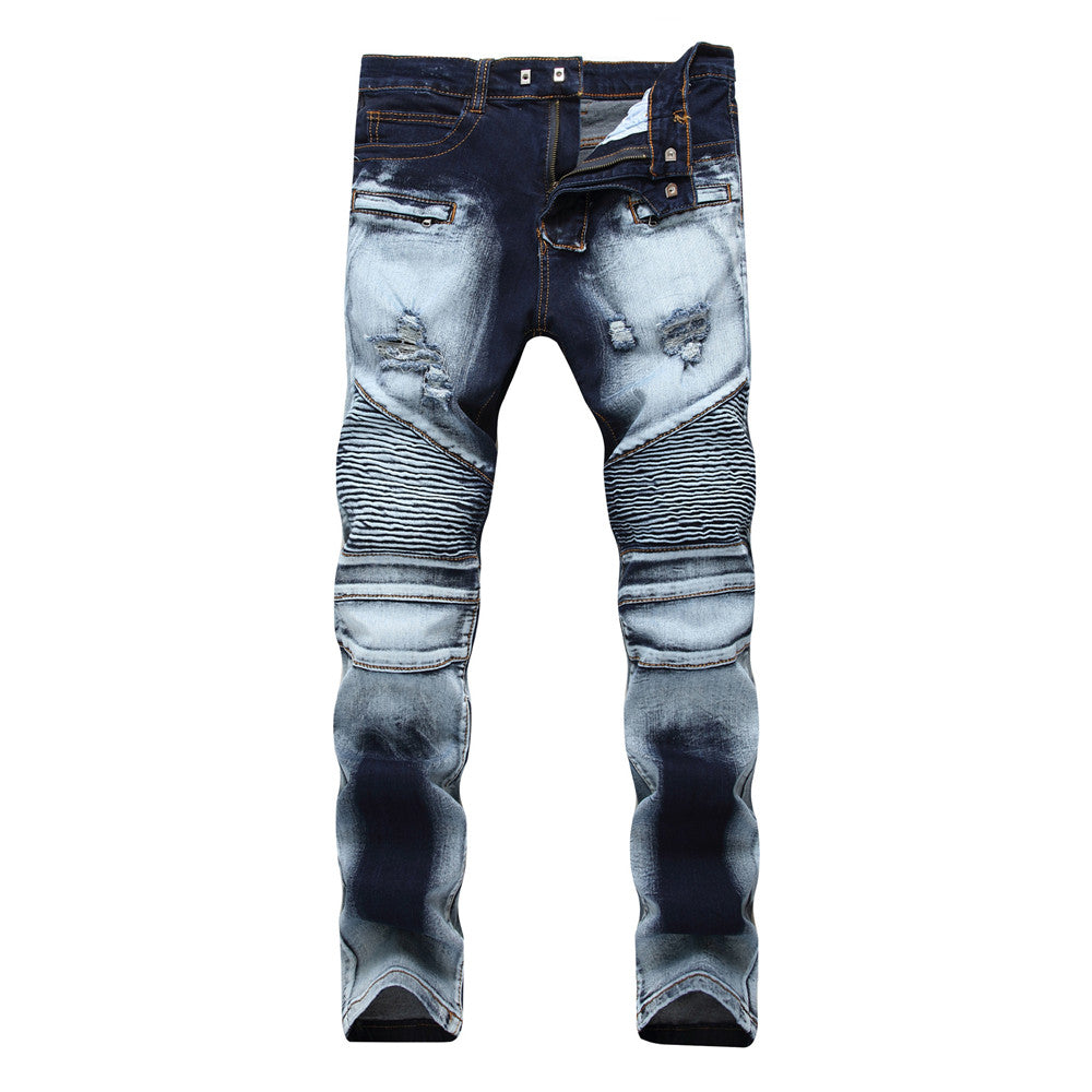 Ripped Biker Wash Men Denim Jeans Size up to 40