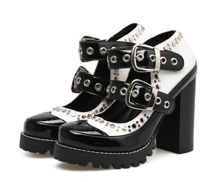 Gothic Black and White Buckle Strap Pumps Shoes