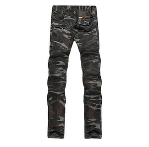 Camouflage Biker Men Jeans with Zipper