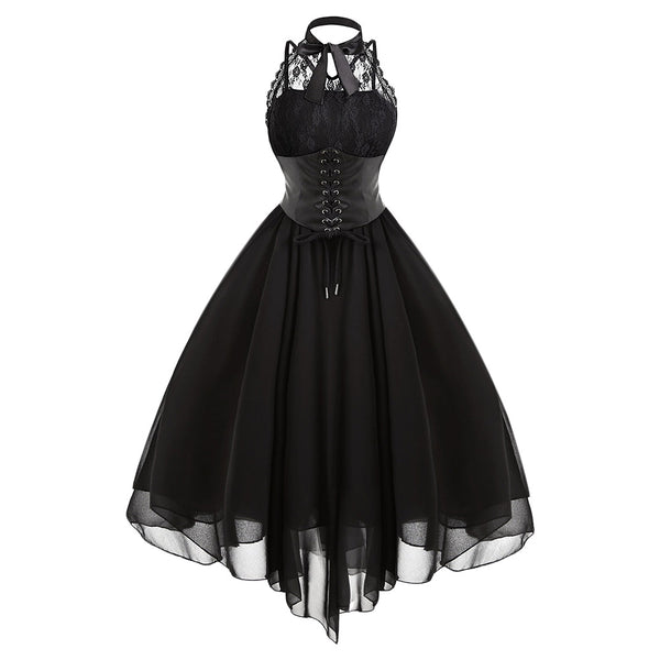 Gothic Vintage Black Corset Women Dress