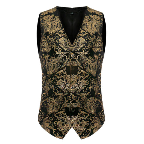 Vintage Steampunk Gold Floral Pattern Men Vest