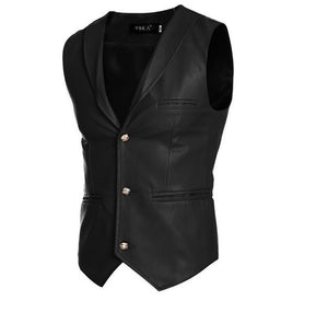 Elegant Spring Leather Men Vest