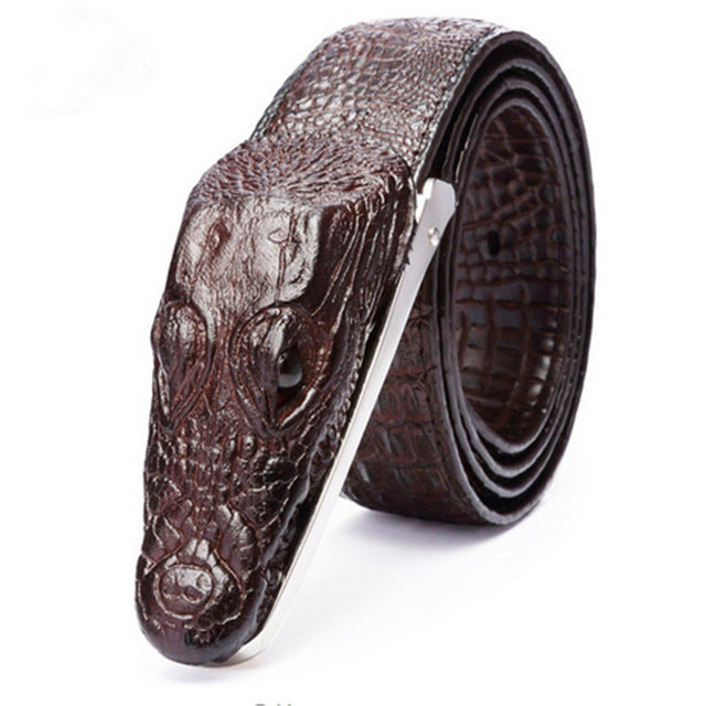 Luxury Genuine Leather Crocodile Shape Men Belt