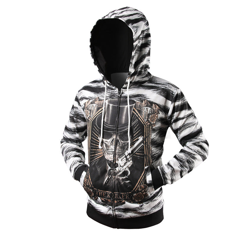Spooky 3D Skeleton & Gun Zipper Men Hoodie Sweatshirt
