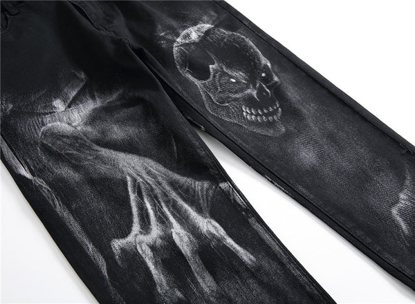 Horror Skull-Printed Black Men Jeans