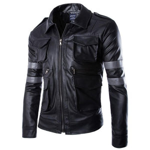 Biker Rock Pockets Leather Men Jacket