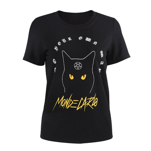 Black Cat Witch Gothic Women's T-shirt