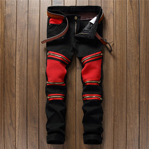 Black and Red Biker Zipper Denim Jeans