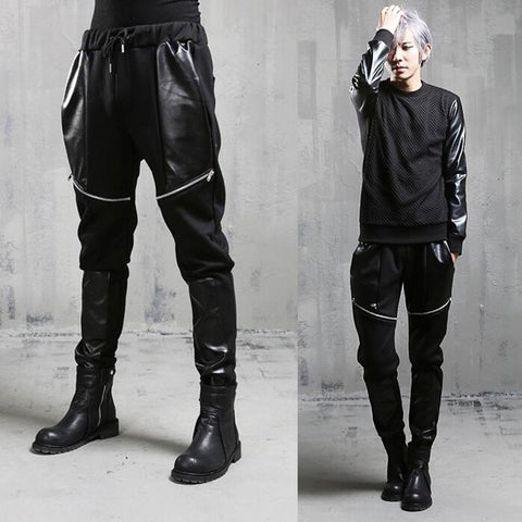 Avant Garde Diagonal Zipper Faux Leather Men Pant