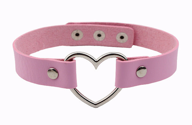 DDLG Kawaii Heart Leather Choker Women Necklace