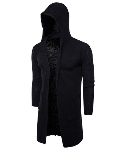 Casual Open Hooded Long Sleeve Men Cardigan