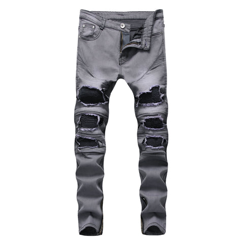 Gray Distressed Ripped Biker Men Jeans