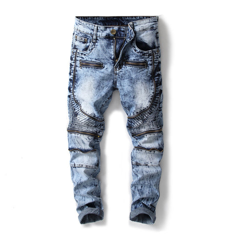Biker Washed Multi Zipper Streetwear Men Jeans