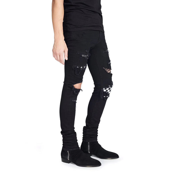Punk Ripped Black Men Jeans