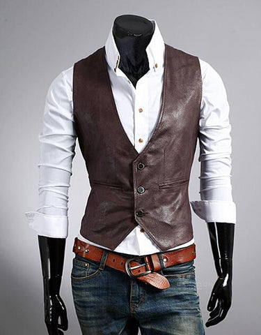 Vintage Steampunk Vegan Leather Men Vest