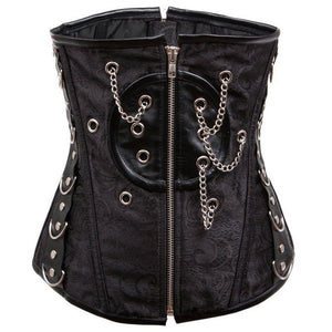 Black Gothic Steampunk Chain Zipper Underbust Women Corset
