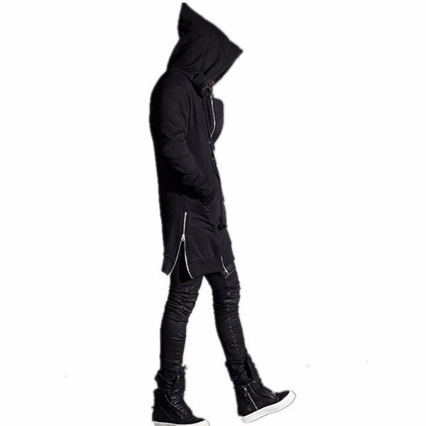 Avant Garde Punk Rock Zipper Wizard Pointed Hood Trench
