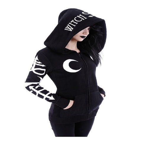 Gothic Punk Witch Moon Loose Hood Long Sleeve Black Hoodie