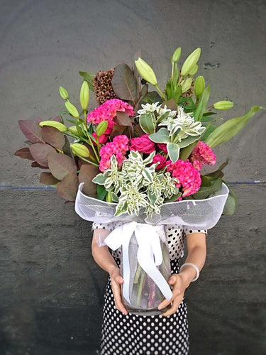 Vase with beautiful gift wrapping