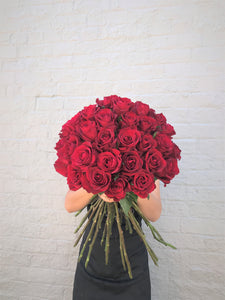 True Love - Premium Long Stem Red Roses bouquet for Valentines Day