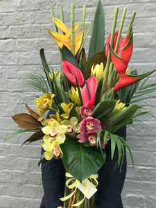 Tropical bouquet vase arrangement