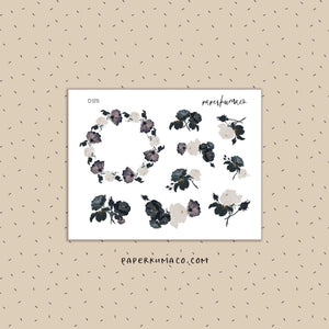 Black & White Roses Stickers
