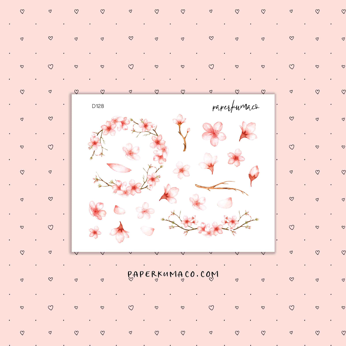 Pink Cherry Blossom Stickers