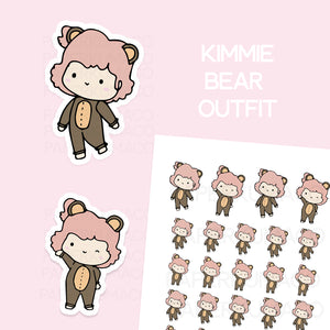 Kimmie Bear Outfit Sticker Sheet - C017
