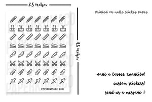 School Stationery Doodle Icons - L001