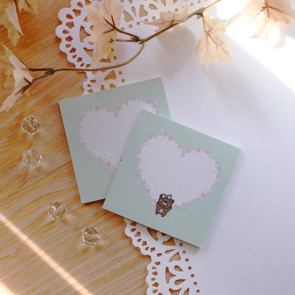 Coco Mint Heart Sticky Note
