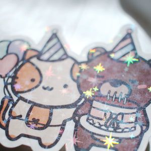 Coco and Momo Birthday Sticker Flake