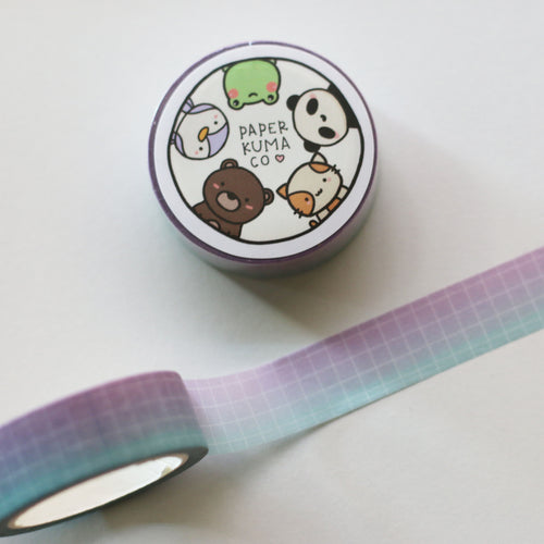 Purple Mint Ombre Grid Washi