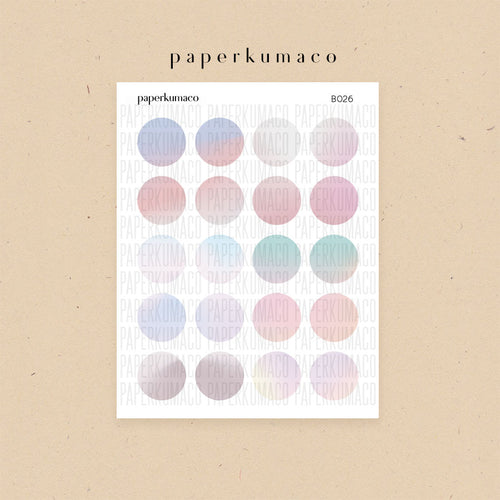 Pastel Ombre Basics Circle Stickers