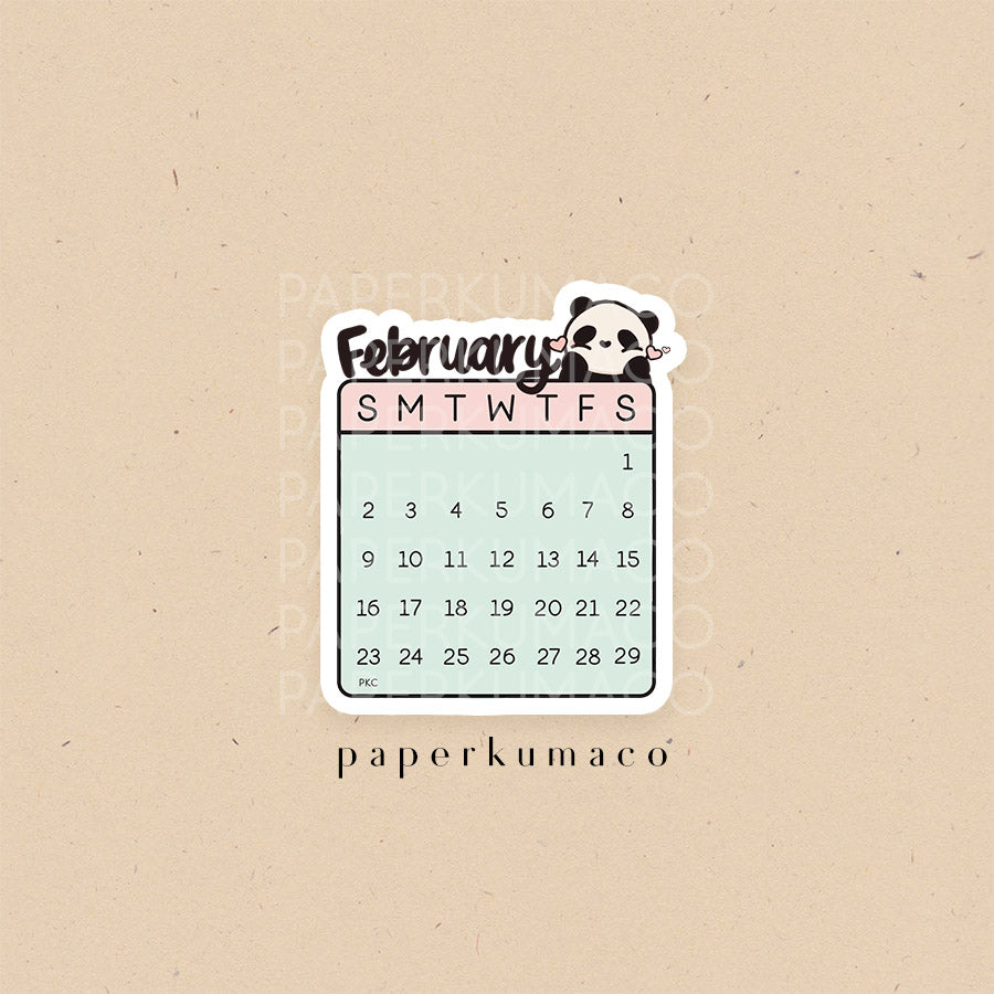 February 2020 Die Cut Calendar Sticker