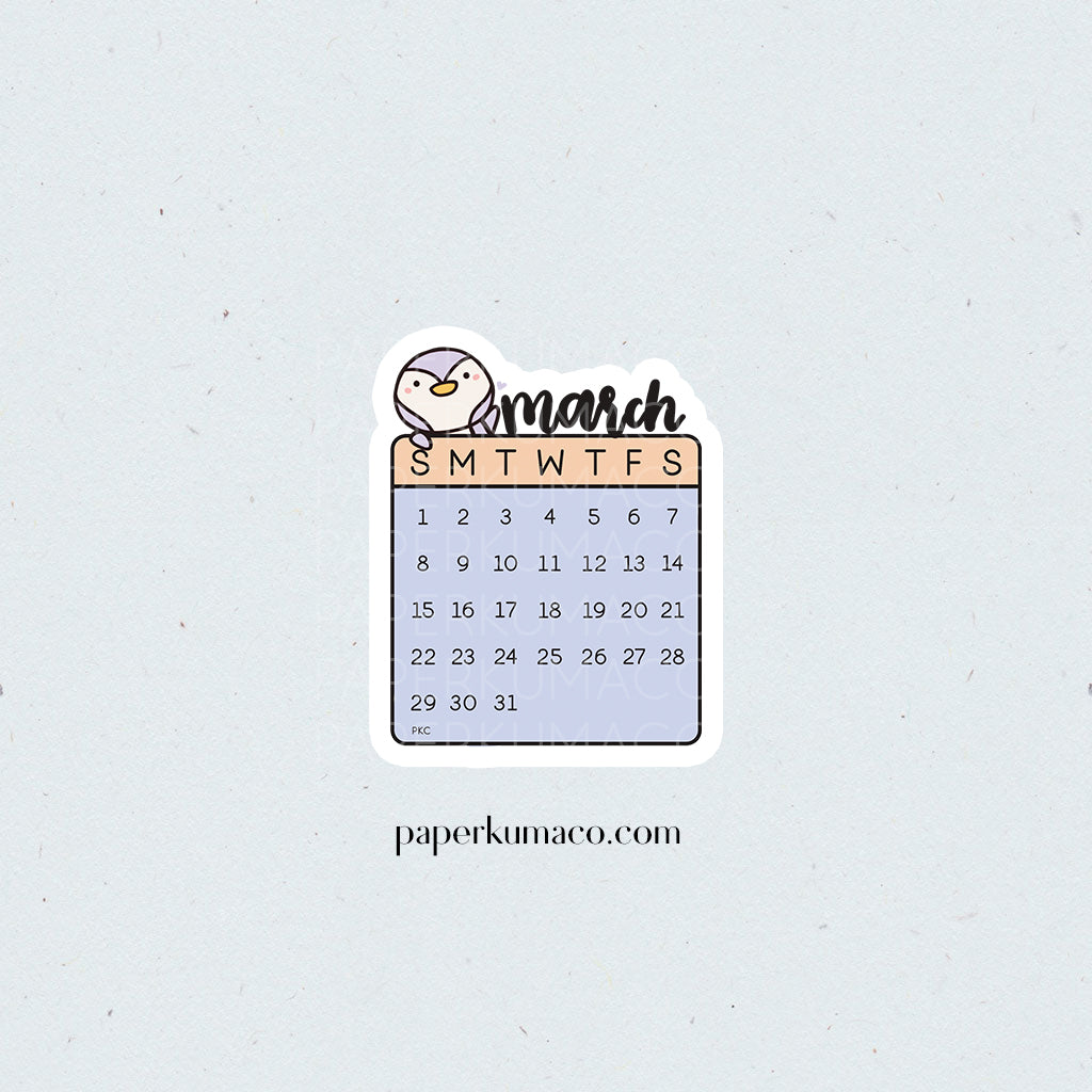March 2020 Die Cut Calendar Sticker