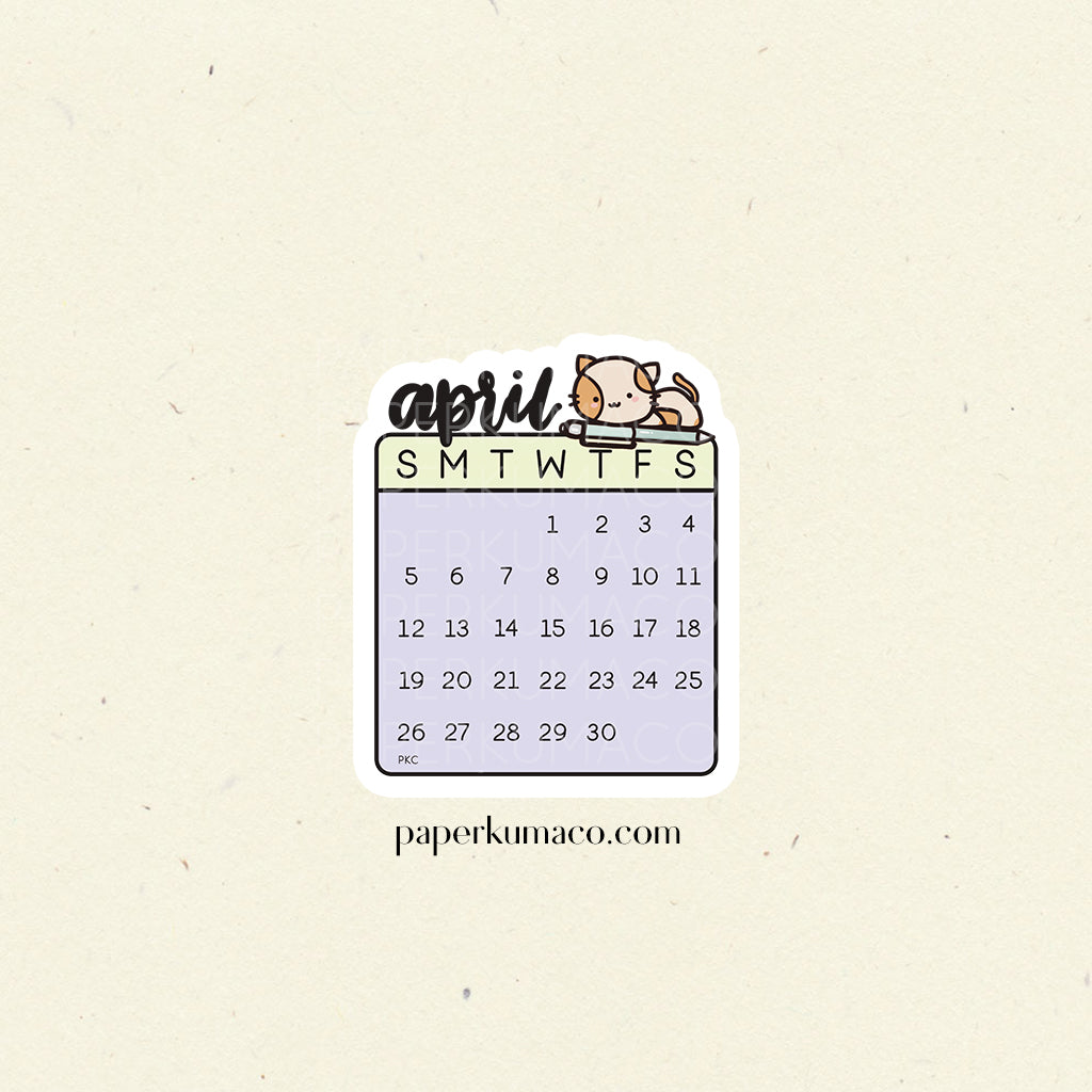 April 2020 Die Cut Calendar Sticker